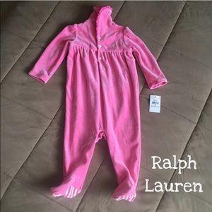 🆕🎀Ralph Lauren Pink Feetie Onesie Size 9M